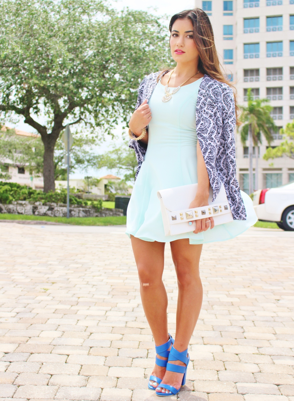 Mint Dress + Patterned Balzer